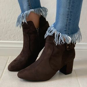 NIB Chocolate Brown Open Side Buckle Ankle Booties